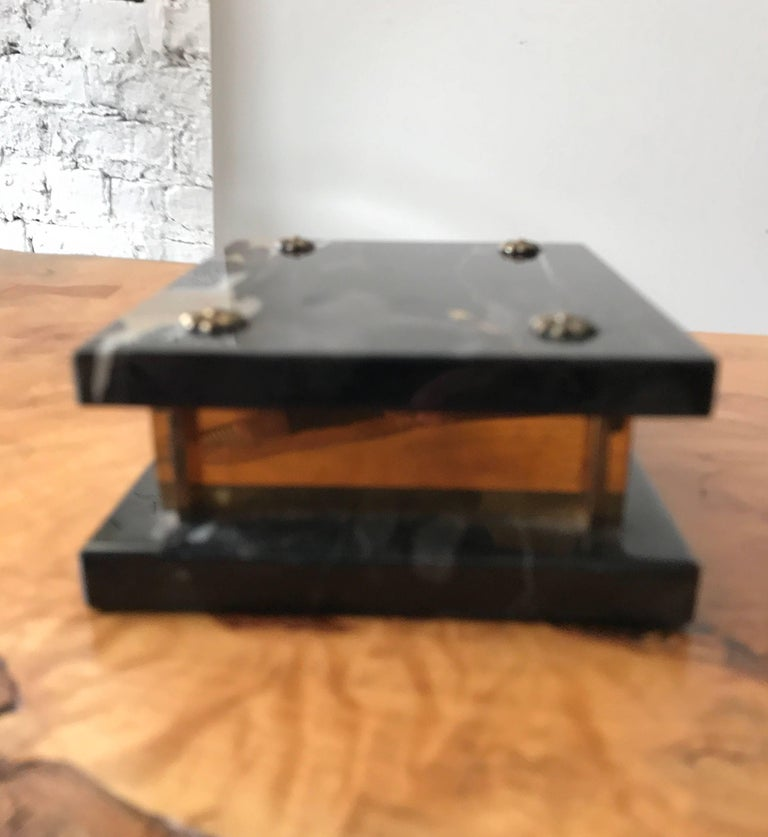Art Deco Marble and Brass Trinket Box In Good Condition For Sale In Chicago, IL