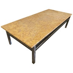 Art Deco Marble and Steel Coffee Table