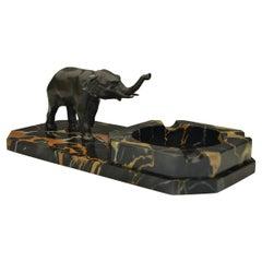 Art Deco Marble Ashtray with Elephant Figurine on Italian Marble Base