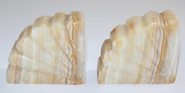 20th Century Art Deco Marble Bookends Hand Carved Scallop Shell Design, French, Ca 1940s For Sale