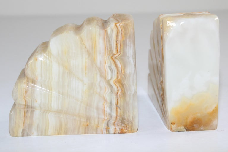 Art Deco Marble Bookends Hand Carved Scallop Shell Design, French, Ca 1940s For Sale 2