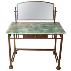 Art Deco Marble & Brass Dressing Table with Mirror, French Le Lit Pardon
