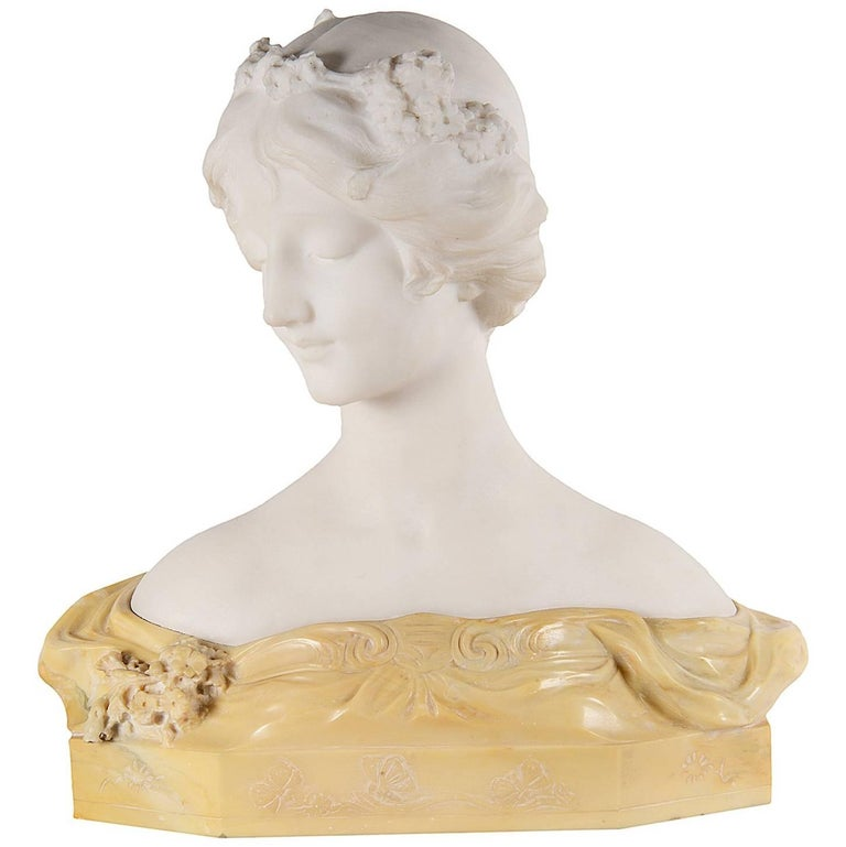 Art Deco Marble Bust of Girl