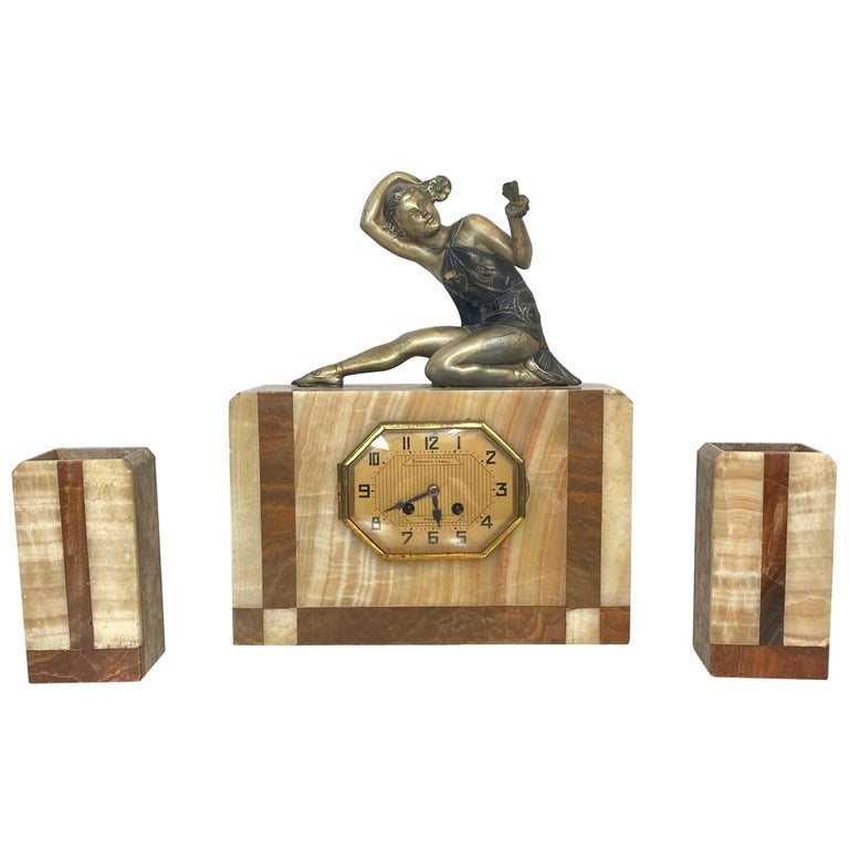 Art Deco Marble Clock Set with Figure of a Lady, Signed Bernard Lebel For Sale