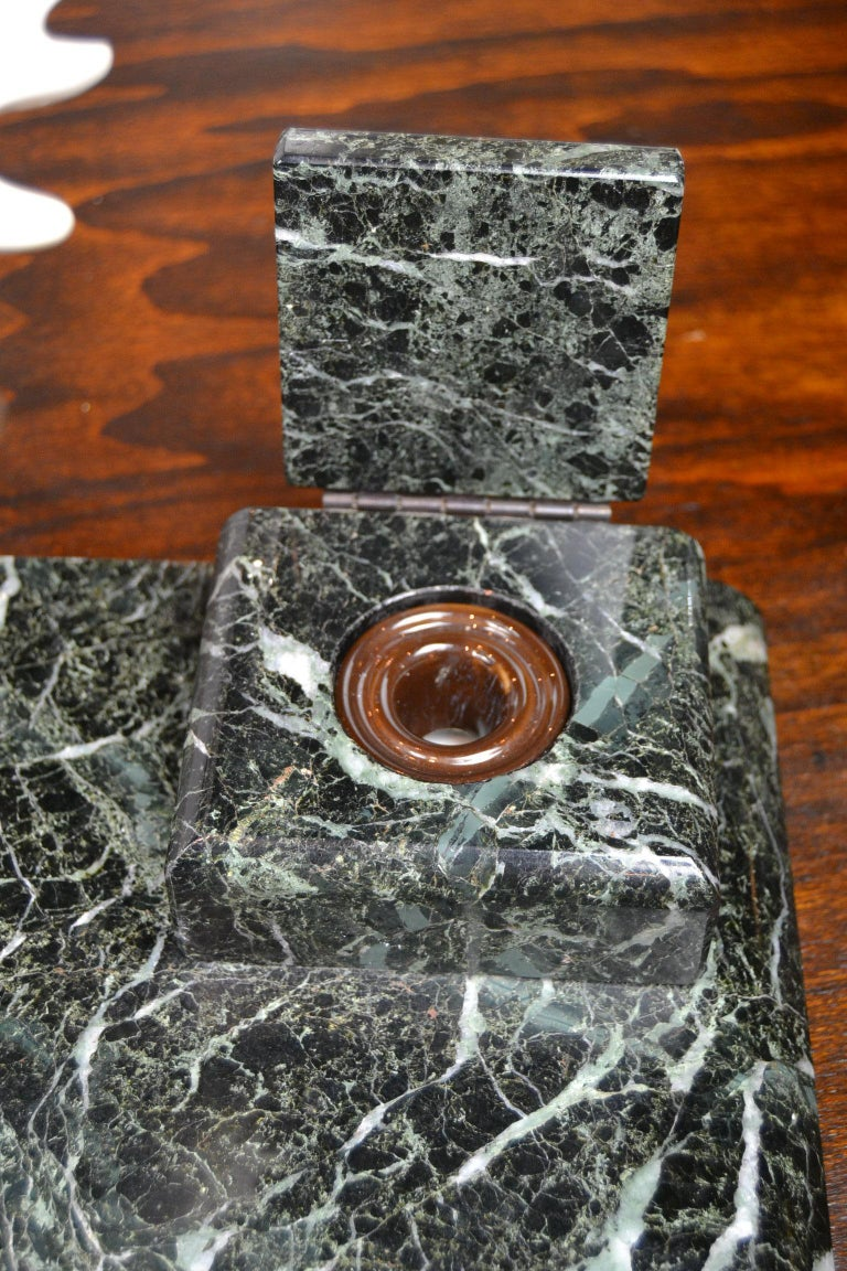 Art Deco Marble Inkwell with Bronze Moose, Ashtray and Ink Dryer, Europe For Sale 8