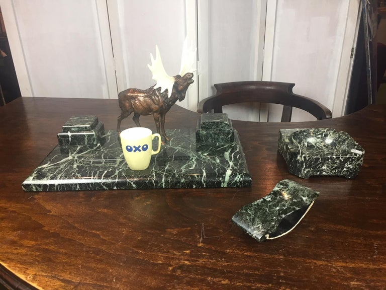 Art Deco Marble Inkwell with Bronze Moose, Ashtray and Ink Dryer, Europe For Sale 15