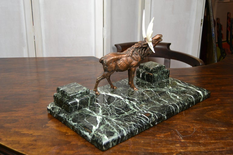 European Art Deco Marble Inkwell with Bronze Moose, Ashtray and Ink Dryer, Europe For Sale