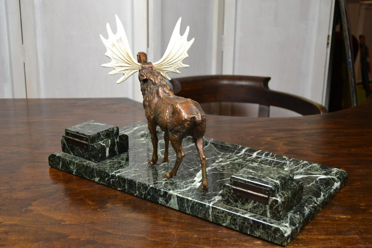 20th Century Art Deco Marble Inkwell with Bronze Moose, Ashtray and Ink Dryer, Europe For Sale