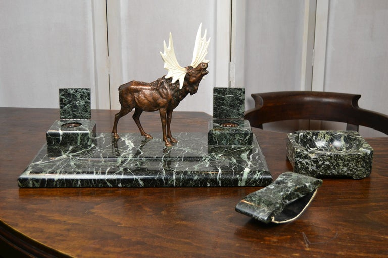 Art Deco Marble Inkwell with Bronze Moose, Ashtray and Ink Dryer, Europe For Sale 2