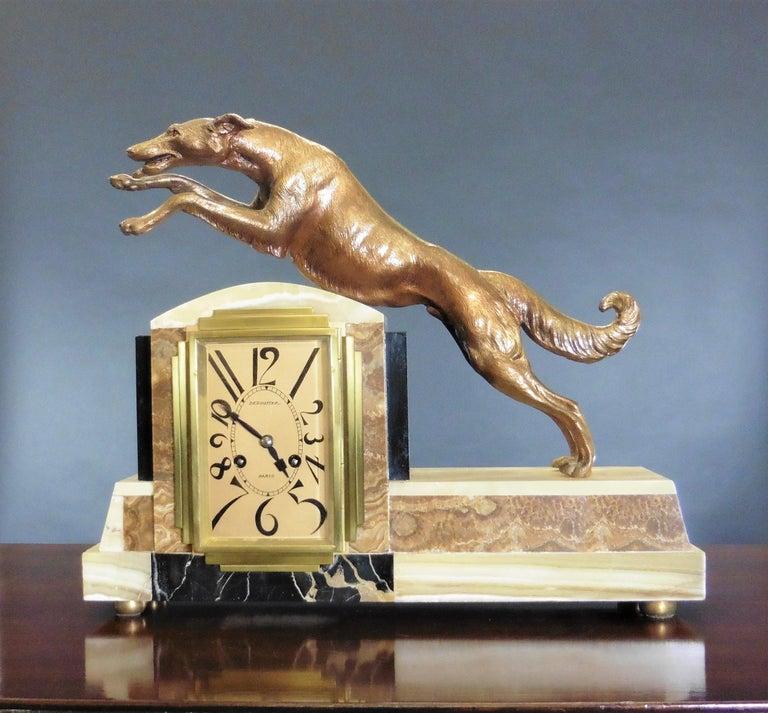 Art Deco Marble Mantel Clock For Sale 5