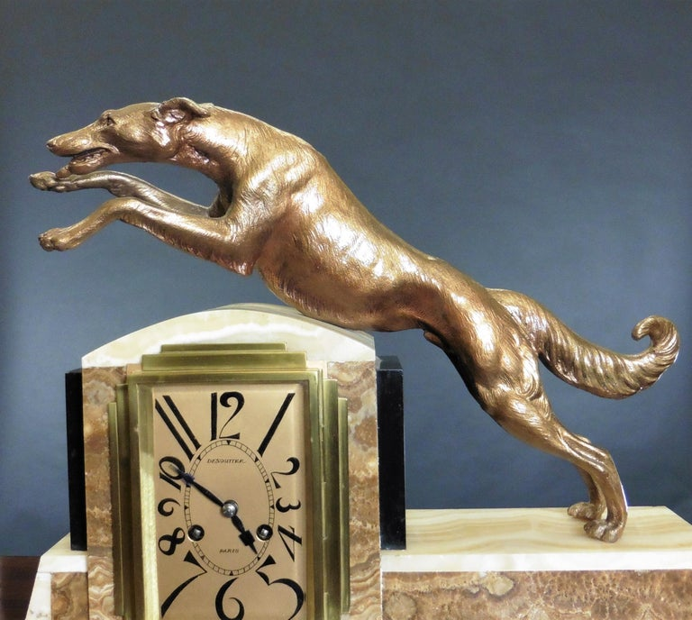 French Art Deco Marble Mantel Clock For Sale