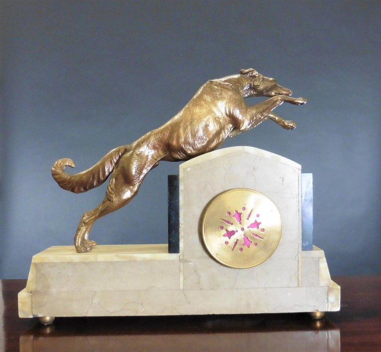 Art Deco Marble Mantel Clock For Sale 1