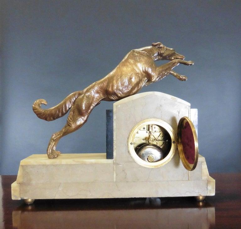 Art Deco Marble Mantel Clock For Sale 2