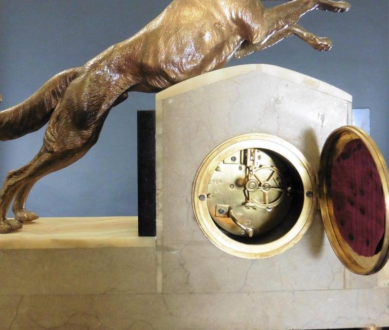 Art Deco Marble Mantel Clock For Sale 3