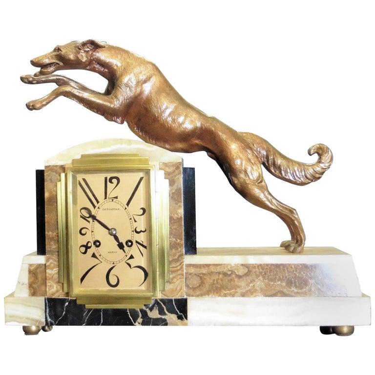 Art Deco Marble Mantel Clock For Sale
