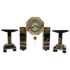 Art Deco Marble Mantel Clock Three-Piece Garniture Set