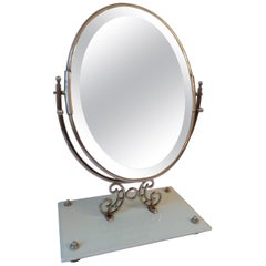 Art Deco Marble Oval Table Mirror
