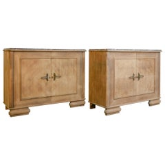 Art Deco Marble-Top Buffet Cabinets, a Pair