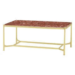 Art Deco Marble-Top Coffee Table, Rouge Marble