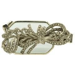 Art Deco Marcasite Sterling Silver Bow Folding Opera Lorgnette Brooch Dress Clip