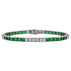 Art Deco Marcus & Co. Emerald Diamond Platinum Line Bracelet