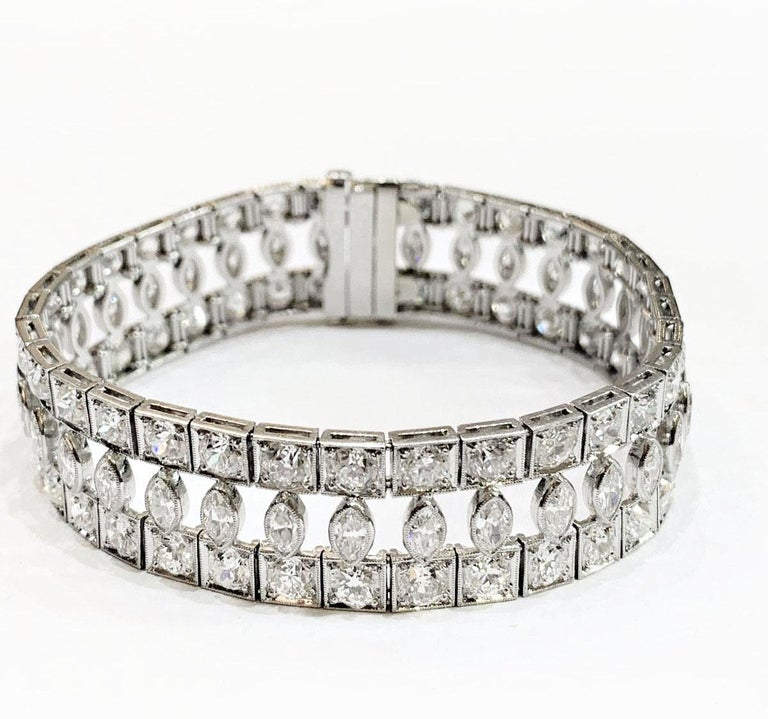 Marquise Cut Art Deco Marquise and Round Old Cut Diamond Platinum Bracelet, circa 1920s For Sale
