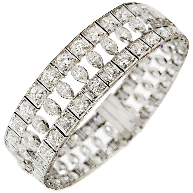 Art Deco Marquise and Round Old Cut Diamond Platinum Bracelet, circa 1920s