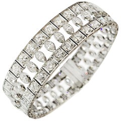 Art Deco Marquise and Round Old Cut Diamond Platinum Bracelet, circa 1920s