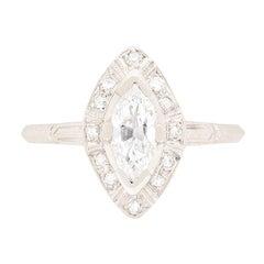 Art Deco Marquise Cut Diamond Solitaire Ring, circa 1920s