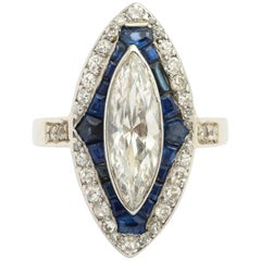 Art Deco Marquise Diamond and Sapphire Dinner Ring