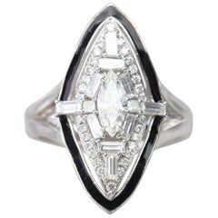 Art Deco Style Marquise Diamond Ring Diamond Statement Ring GIA Certificated