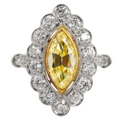 Art Deco Marquise Fancy Intense Yellow Internally Flawless Diamond Cluster Ring