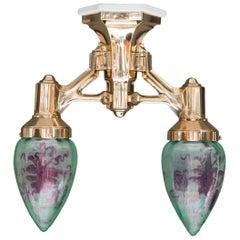 Art Deco Masiv Bronze Ceiling Lamp, circa 1920s