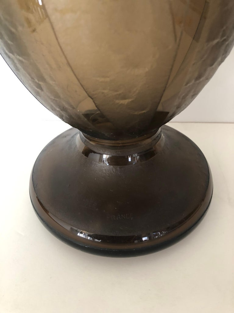 Art Deco Massive Tall Schneider Wheel Cut Engraved Acid Etched Vase For Sale 3