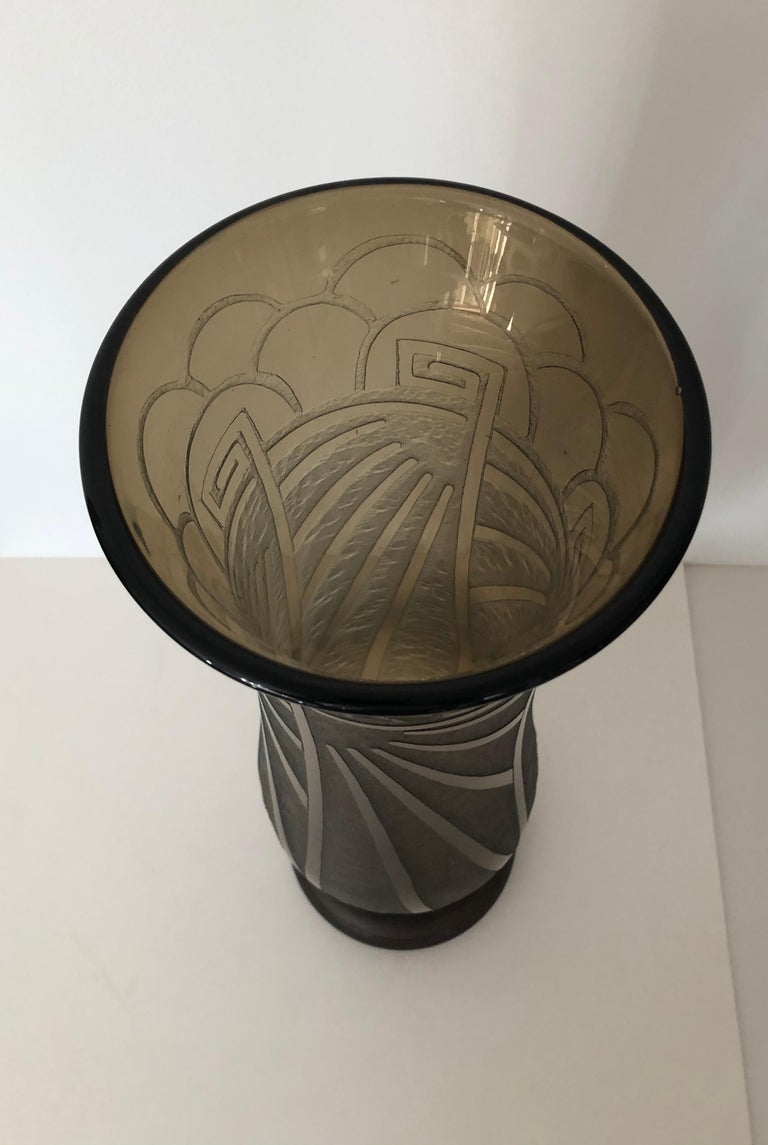 Art Deco Massive Tall Schneider Wheel Cut Engraved Acid Etched Vase For Sale 5