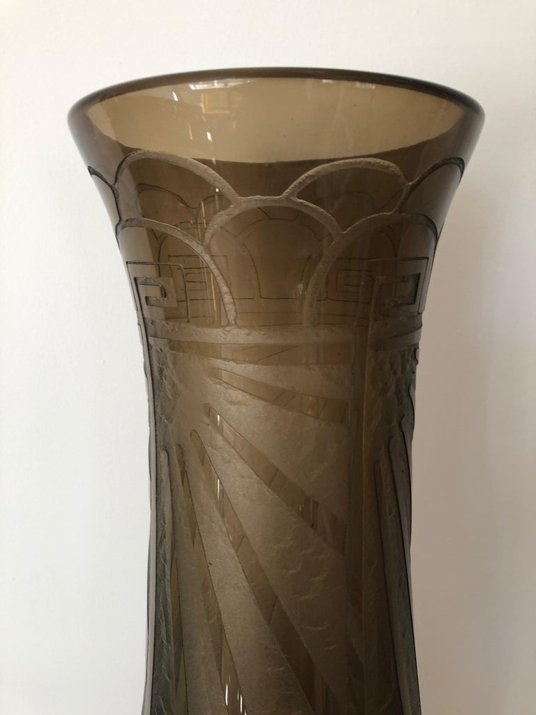 French Art Deco Massive Tall Schneider Wheel Cut Engraved Acid Etched Vase For Sale