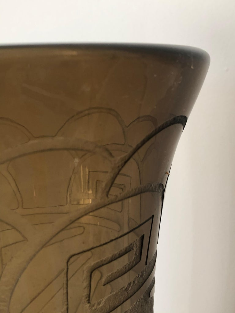 Art Deco Massive Tall Schneider Wheel Cut Engraved Acid Etched Vase In Excellent Condition For Sale In Westport, CT