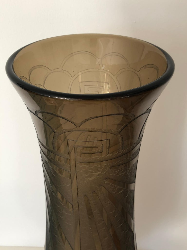 20th Century Art Deco Massive Tall Schneider Wheel Cut Engraved Acid Etched Vase For Sale
