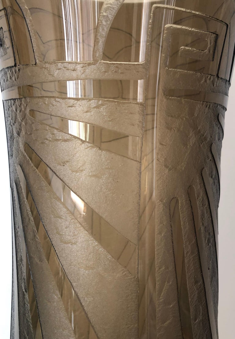 Art Deco Massive Tall Schneider Wheel Cut Engraved Acid Etched Vase For Sale 1
