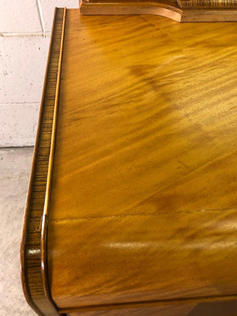 Art Deco Matchbook Veneer Dresser & Mirror with Zebra Wood Accents For Sale 6