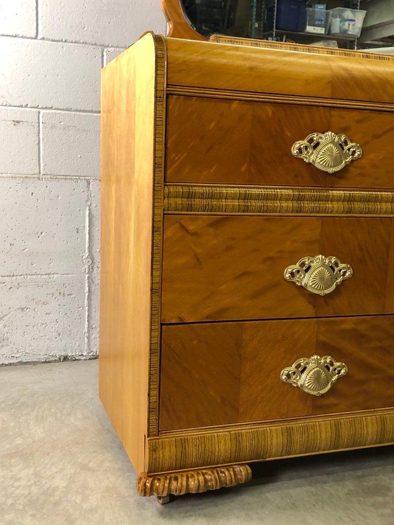 Art Deco Matchbook Veneer Dresser & Mirror with Zebra Wood Accents For Sale 7