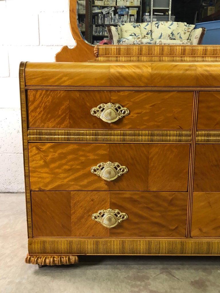 Art Deco Matchbook Veneer Dresser & Mirror with Zebra Wood Accents In Good Condition For Sale In Amherst, NH