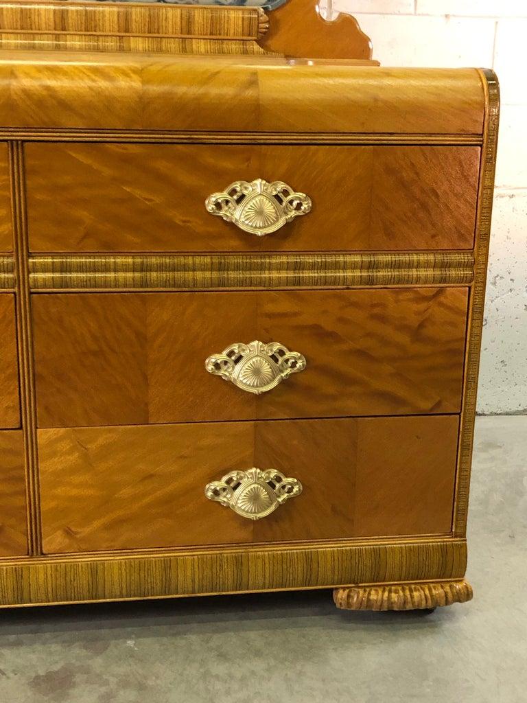 20th Century Art Deco Matchbook Veneer Dresser & Mirror with Zebra Wood Accents For Sale