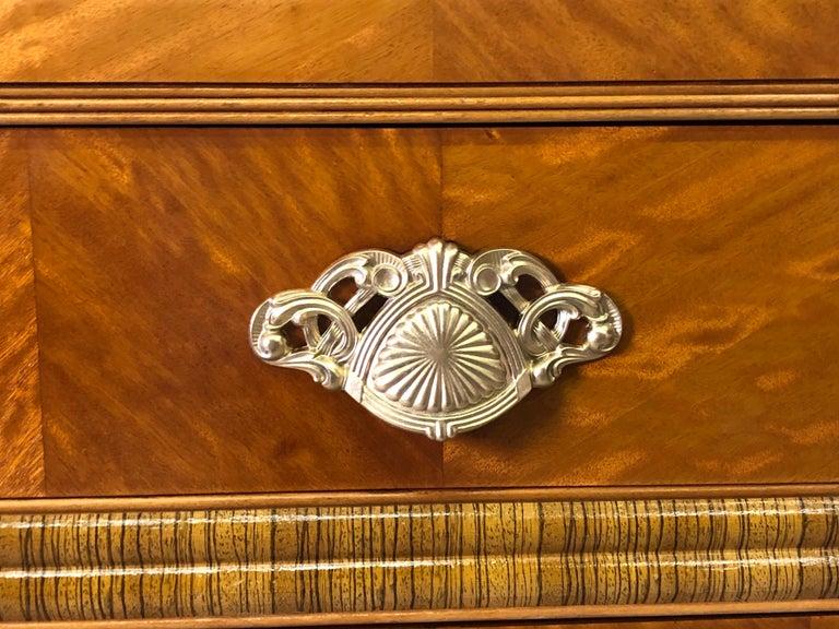Art Deco Matchbook Veneer Dresser & Mirror with Zebra Wood Accents For Sale 2