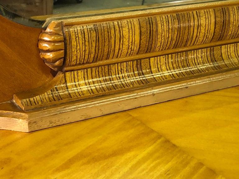 Art Deco Matchbook Veneer Dresser & Mirror with Zebra Wood Accents For Sale 3