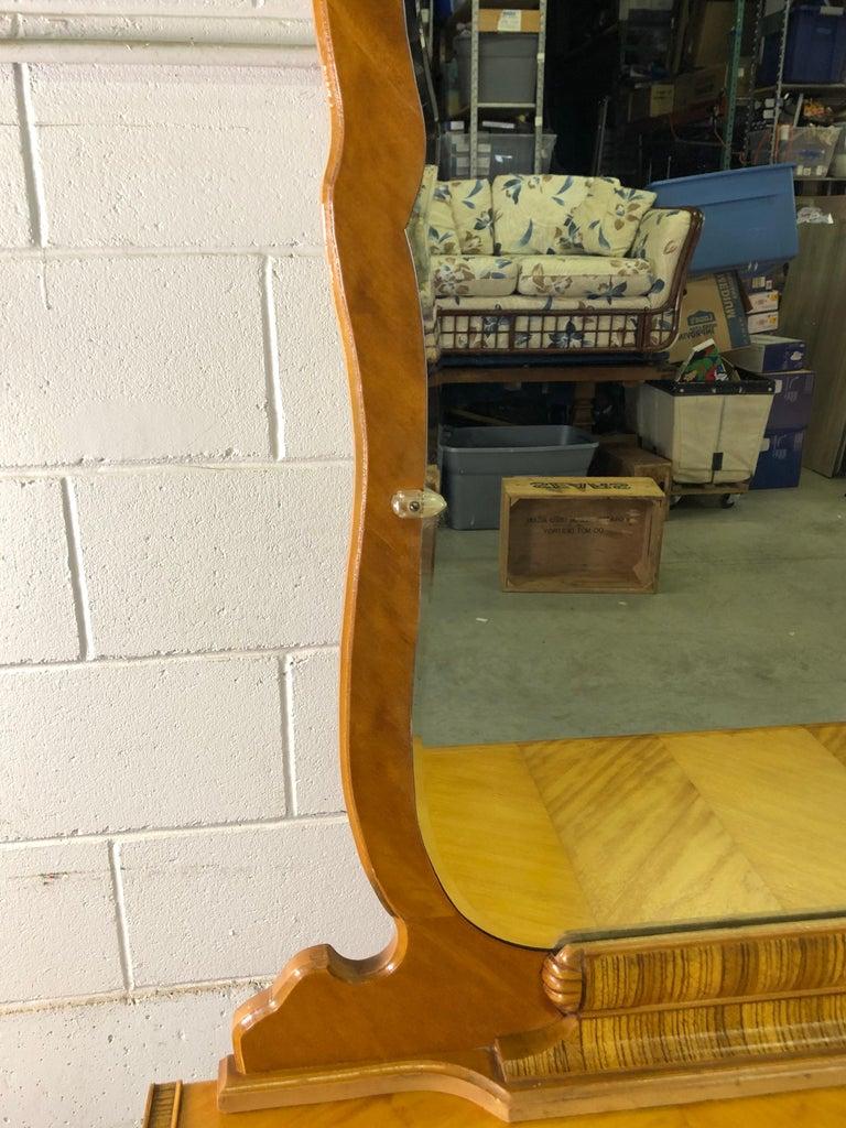 Art Deco Matchbook Veneer Dresser & Mirror with Zebra Wood Accents For Sale 4