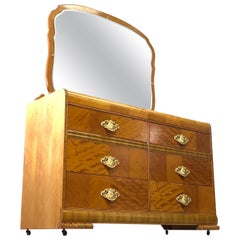 Art Deco Matchbook Veneer Dresser & Mirror with Zebra Wood Accents