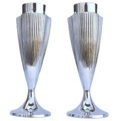 Art Deco Matching Pair of Chrome Vases, England, c1930