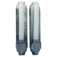 Art Deco Matching Pair of Skyscraper Wall Light Sconces, circa 1930