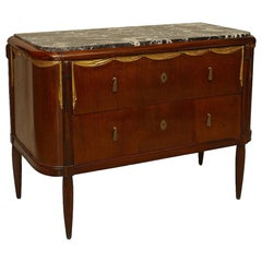 Art Deco Maurice Dufrene Parcel Gilt Marble-Top Commode